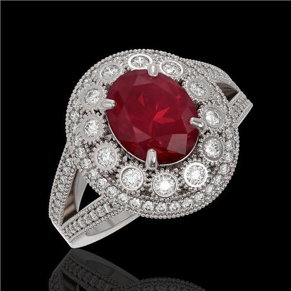 4.55 ctw Certified Ruby & Diamond Victorian Ring 14K White Gold - REF-143K6Y