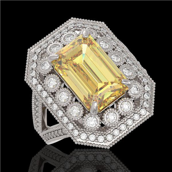 5.85 ctw Canary Citrine & Diamond Victorian Ring 14K White Gold - REF-145K6Y