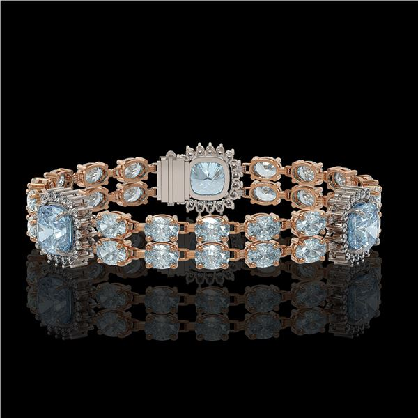 18.97 ctw Sky Topaz & Diamond Bracelet 14K Rose Gold - REF-263X6A