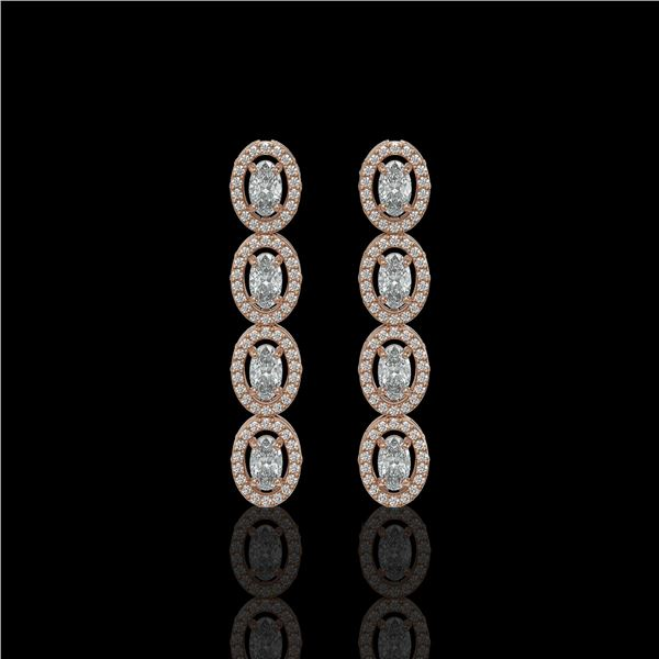 3.84 ctw Oval Cut Diamond Micro Pave Earrings 18K Rose Gold - REF-334W6H