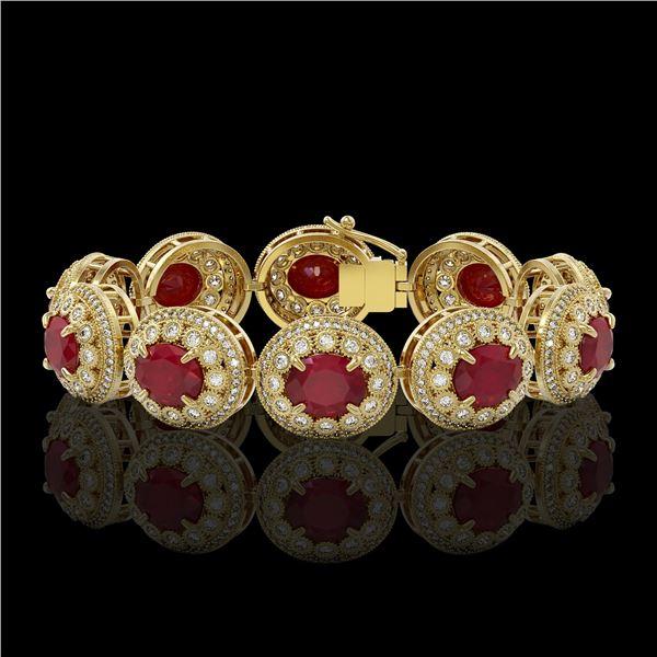 49.17 ctw Certified Ruby & Diamond Victorian Bracelet 14K Yellow Gold - REF-1369Y3X