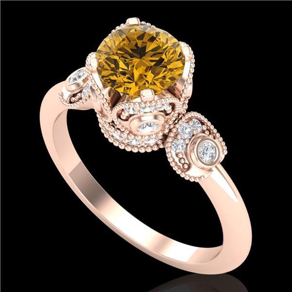 1.75 ctw Intense Fancy Yellow Diamond Art Deco Ring 18k Rose Gold - REF-236H4R