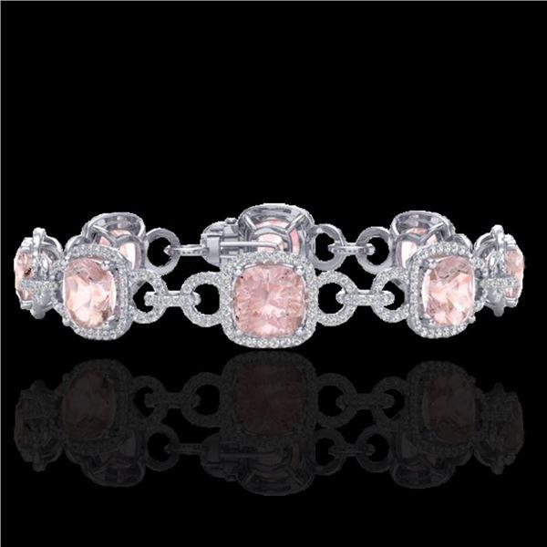 22 ctw Morganite & Micro VS/SI Diamond Bracelet 14k White Gold - REF-575K5Y