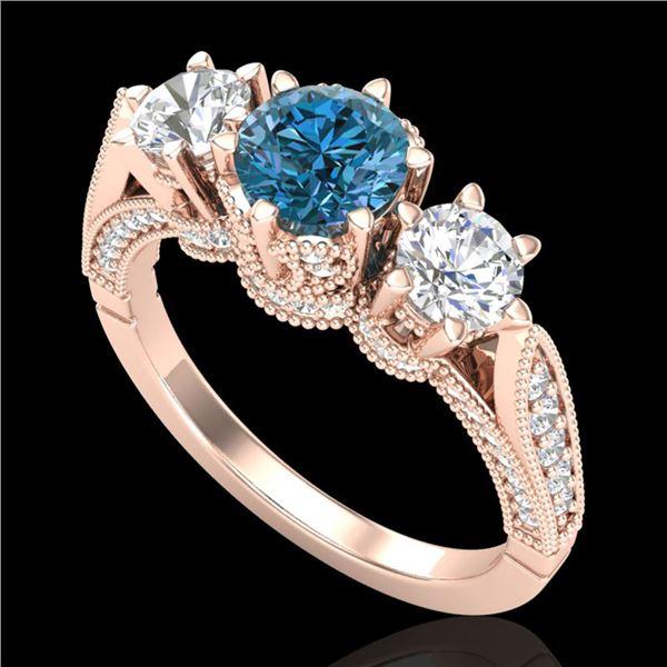 2.18 ctw Intense Blue Diamond Art Deco 3 Stone Ring 18k Rose Gold - REF-254H5R