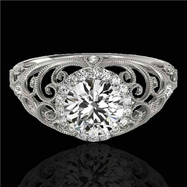 1.22 ctw Certified Diamond Solitaire Halo Ring 10k White Gold - REF-177G3W