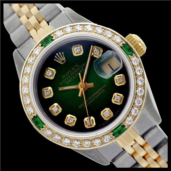 Rolex Men's Two Tone 14K Gold/SS, QuickSet, Diam Dial & Diam/Emerald Bezel