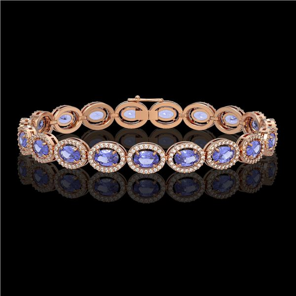 14.25 ctw Tanzanite & Diamond Micro Pave Halo Bracelet 10k Rose Gold - REF-309N3F
