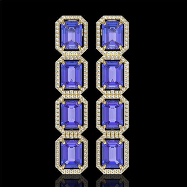 19.39 ctw Tanzanite & Diamond Micro Pave Halo Earrings 10k Yellow Gold - REF-418G5W
