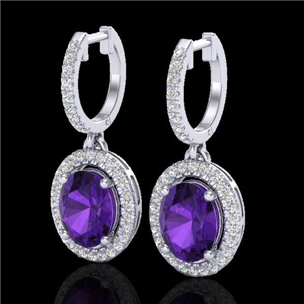 3.50 ctw Amethyst & Micro Pave VS/SI Diamond Earrings 18k White Gold - REF-99W8H