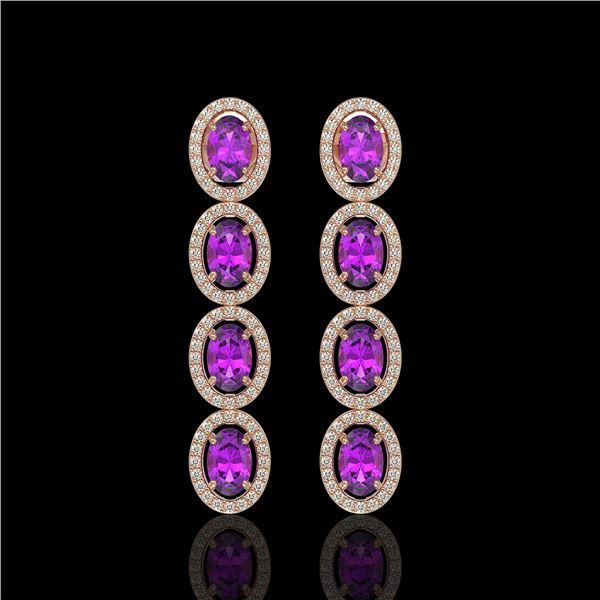 5.56 ctw Amethyst & Diamond Micro Pave Halo Earrings 10k Rose Gold - REF-143N6F