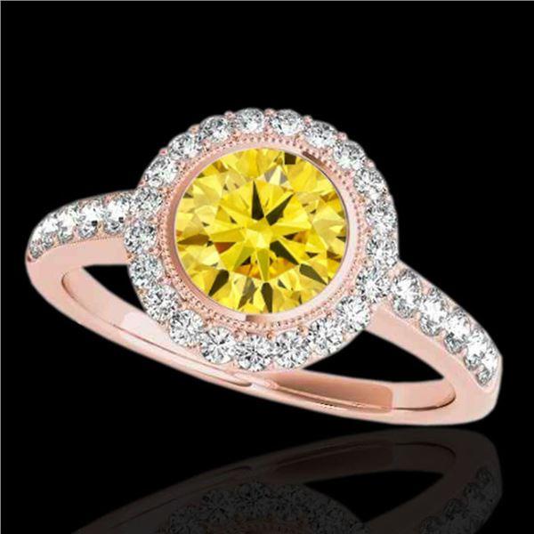 1.5 ctw Certified SI/I Fancy Intense Yellow Diamond Ring 10k Rose Gold - REF-204X5A