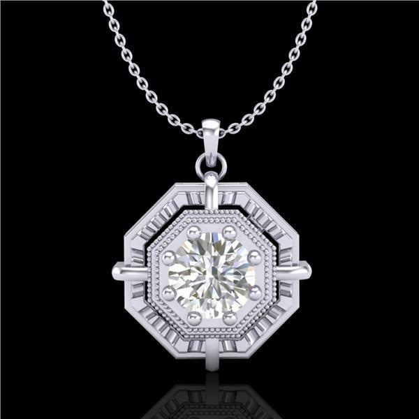 0.75 ctw VS/SI Diamond Solitaire Art Deco Stud Necklace 18k White Gold - REF-202K5Y