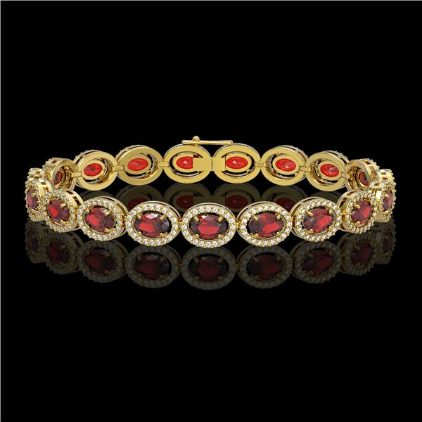 14.63 ctw Garnet & Diamond Micro Pave Halo Bracelet 10k Yellow Gold - REF-263Y6X