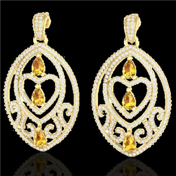 7 ctw Yellow Sapphire & Diamond Heart Earrings 18k Yellow Gold - REF-418R2K