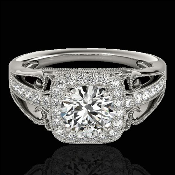 1.3 ctw Certified Diamond Solitaire Halo Ring 10k White Gold - REF-197Y8X