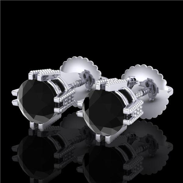 1.07 ctw Fancy Black Diamond Art Deco Stud Earrings 18k White Gold - REF-85M5G