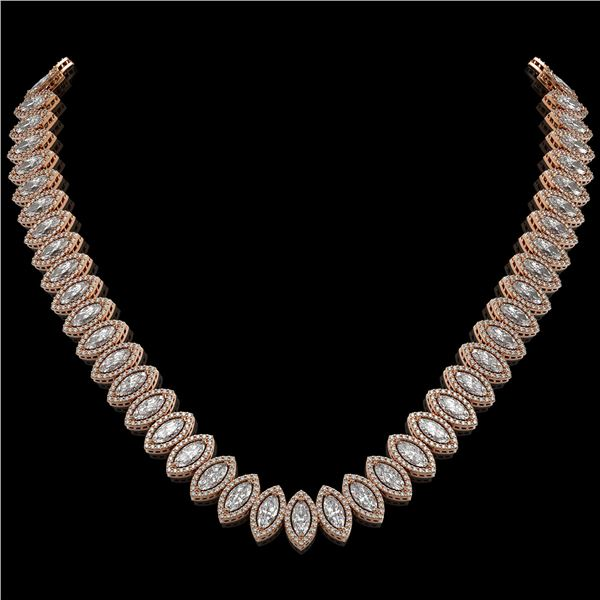 39.68 ctw Marquise Cut Diamond Micro Pave Necklace 18K Rose Gold - REF-5438F6M
