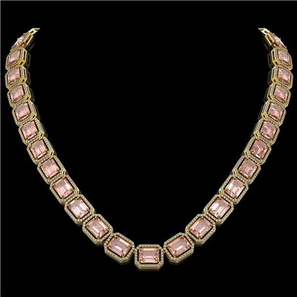 81.64 ctw Morganite & Diamond Micro Pave Halo Necklace 10k Yellow Gold - REF-1728A2N