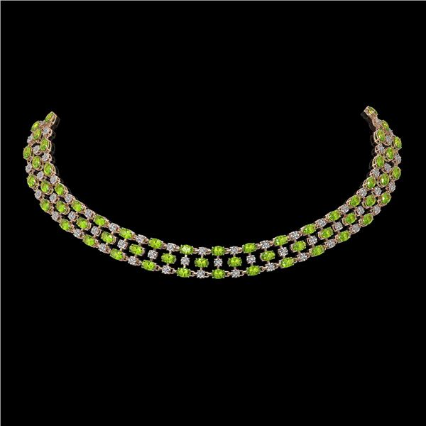 56.93 ctw Peridot & Diamond Necklace 10K Rose Gold - REF-527K3Y