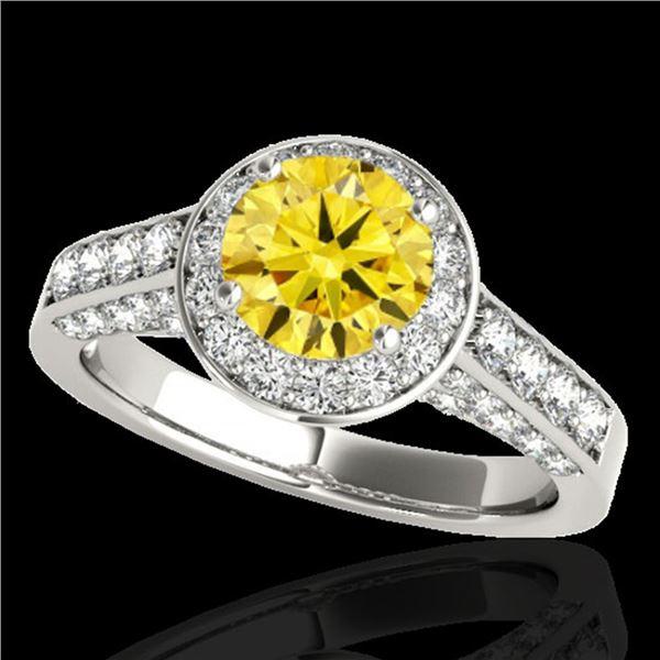 2.56 ctw Certified SI/I Fancy Intense Yellow Diamond Ring 10k White Gold - REF-354Y5X