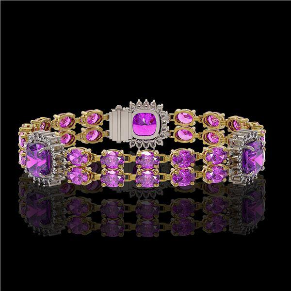 16.25 ctw Amethyst & Diamond Bracelet 14K Yellow Gold - REF-263W6H