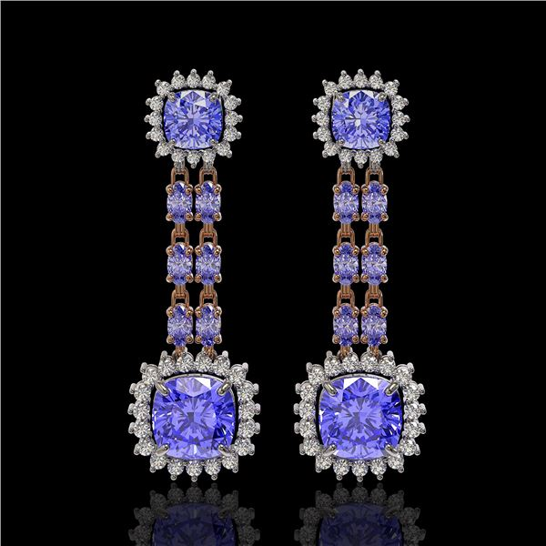 20.06 ctw Tanzanite & Diamond Earrings 14K Rose Gold - REF-469N6F