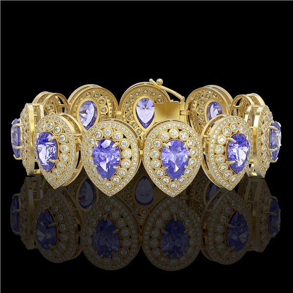 50.04 ctw Tanzanite & Diamond Victorian Bracelet 14K Yellow Gold - REF-2636W4H