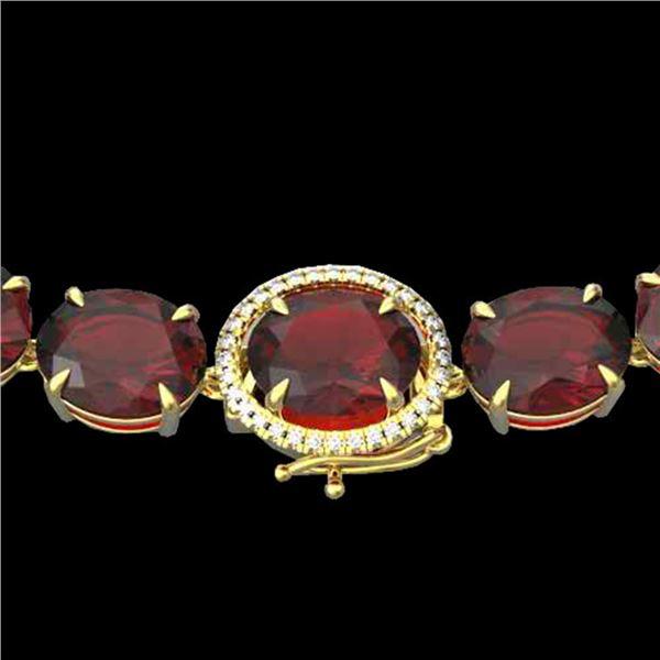 145 ctw Garnet & VS/SI Diamond Halo Micro Necklace 14k Yellow Gold - REF-455W6H