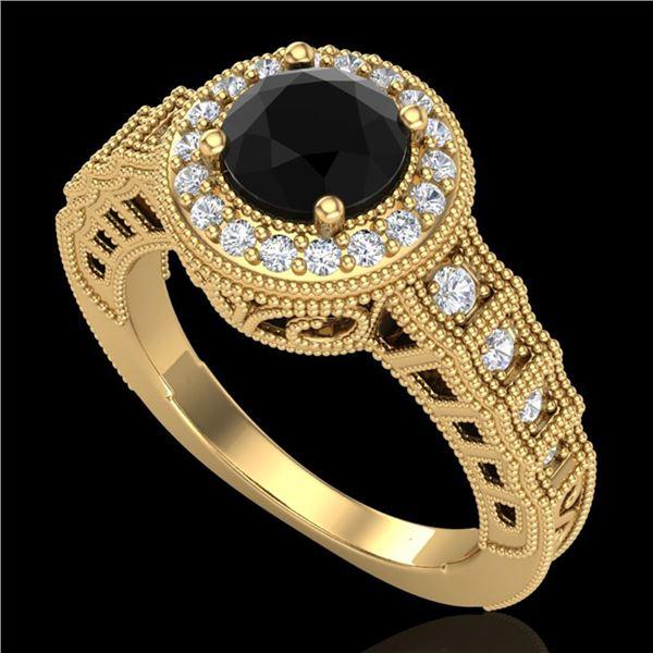 1.53 ctw Fancy Black Diamond Engagment Art Deco Ring 18k Yellow Gold - REF-127H3R