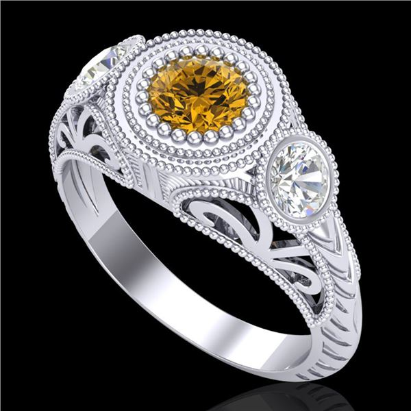 1.06 ctw Intense Fancy Yellow Diamond Art Deco Ring 18k White Gold - REF-154X5A