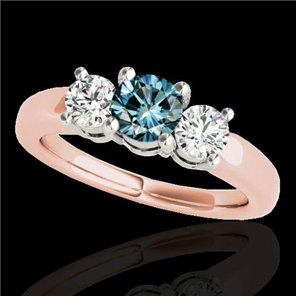 2 ctw SI Certified Fancy Blue Diamond 3 Stone Ring 10k Rose Gold - REF-218H2R