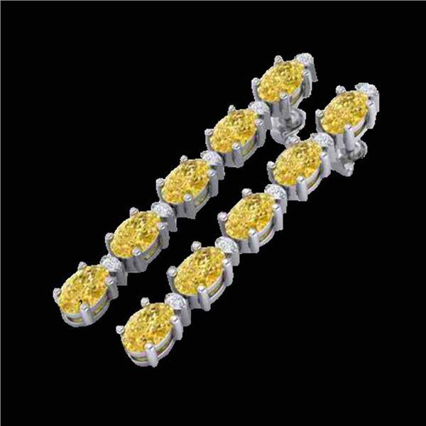 15.47 ctw Citrine & VS/SI Certified Diamond Tennis Earrings 10k White Gold - REF-75G6W