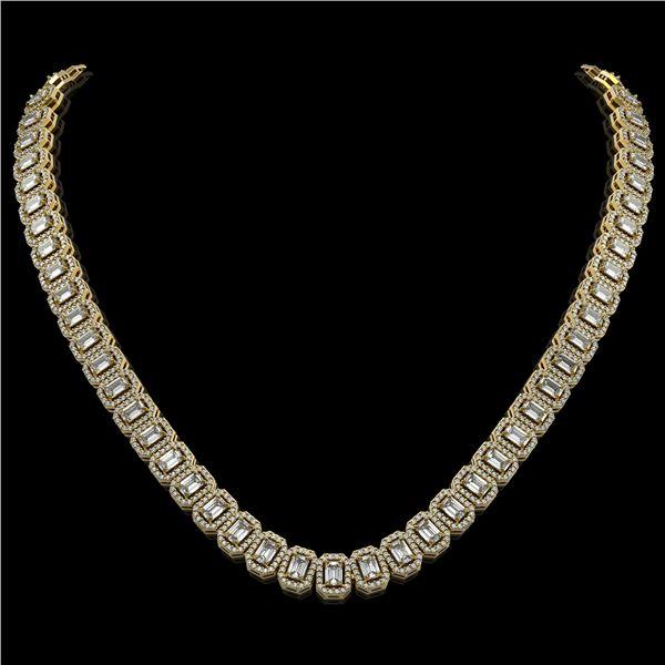 26.11 ctw Emerald Cut Diamond Micro Pave Necklace 18K Yellow Gold - REF-3101G2W