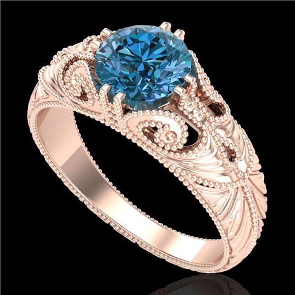 1 ctw Intense Blue Diamond Engagment Art Deco Ring 18k Rose Gold - REF-180F2M