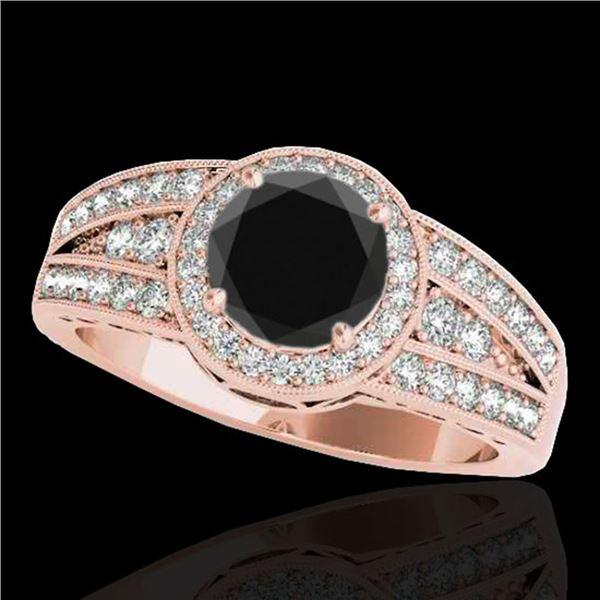 1.5 ctw Certified VS Black Diamond Solitaire Halo Ring 10k Rose Gold - REF-57G8W