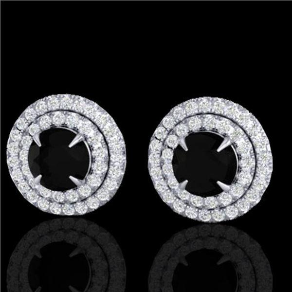 2 ctw Micro Pave VS/SI Diamond Certified Stud Earrings 18k White Gold - REF-109W3H