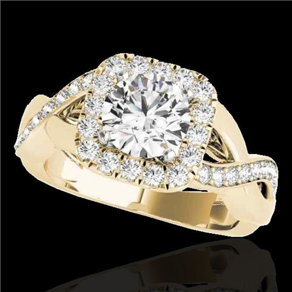 2 ctw Certified Diamond Solitaire Halo Ring 10k Yellow Gold - REF-259N3F