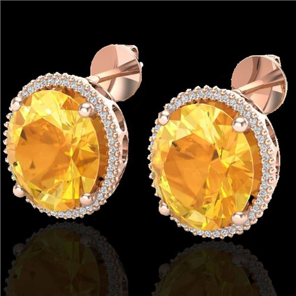 20 ctw Citrine & Micro Pave VS/SI Diamond Earrings 14k Rose Gold - REF-109H3R