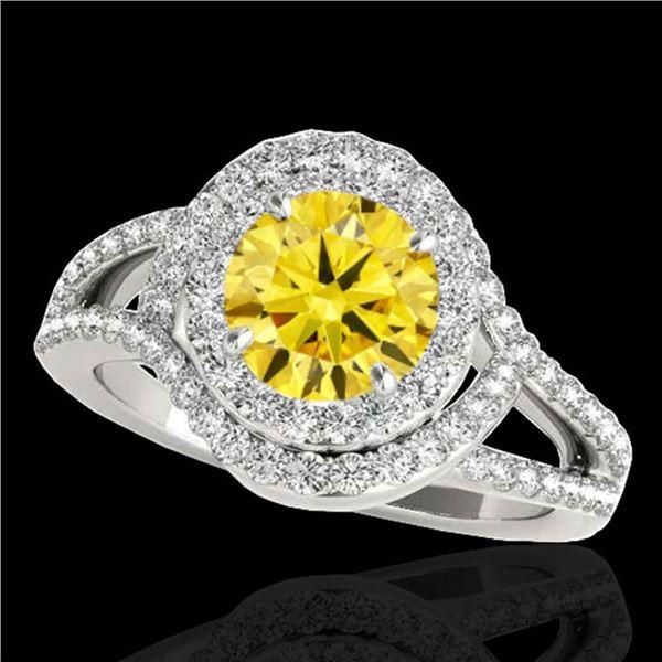 1.9 ctw Certified SI/I Fancy Intense Yellow Diamond Ring 10k White Gold - REF-218F2M