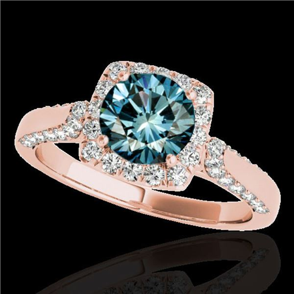 1.7 ctw SI Certified Fancy Blue Diamond Solitaire Halo Ring 10k Rose Gold - REF-133Y5X