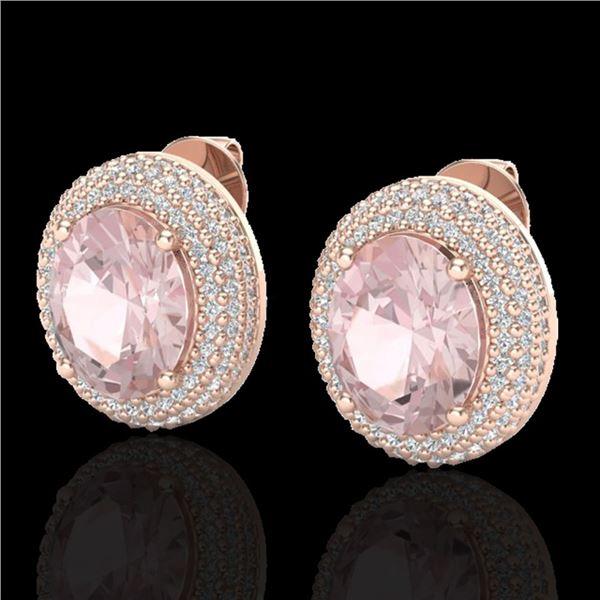 9 ctw Morganite & Micro Pave VS/SI Diamond Earrings 14k Rose Gold - REF-273Y5X