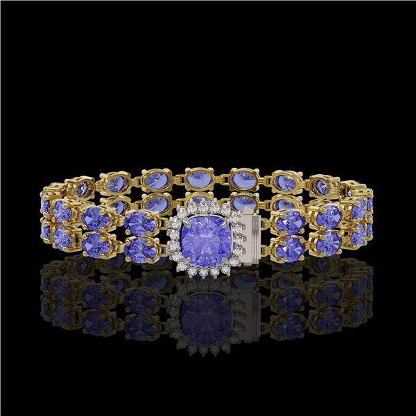 16.96 ctw Tanzanite & Diamond Bracelet 14K Yellow Gold - REF-245M5G