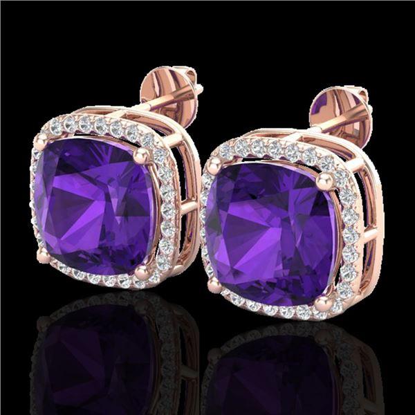 12 ctw Amethyst & Micro Pave VS/SI Diamond Earrings 14k Rose Gold - REF-78W2H