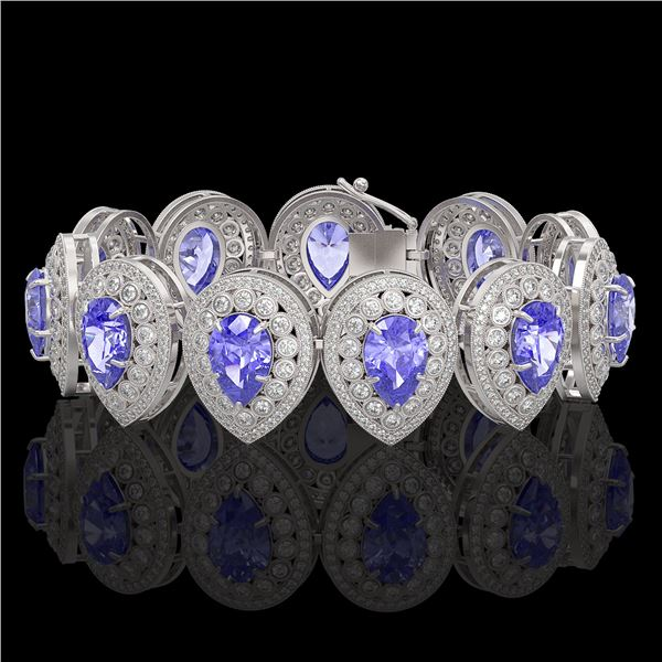 50.04 ctw Tanzanite & Diamond Victorian Bracelet 14K White Gold - REF-2636N4F