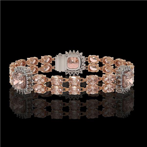 18.59 ctw Morganite & Diamond Bracelet 14K Rose Gold - REF-331Y8X