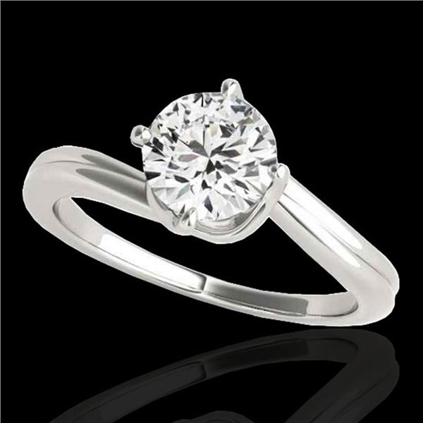 1 ctw Certified Diamond Bypass Solitaire Ring 10k White Gold - REF-177A3N