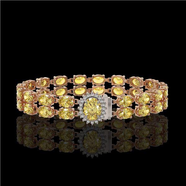 14.14 ctw Citrine & Diamond Bracelet 14K Rose Gold - REF-209K3Y