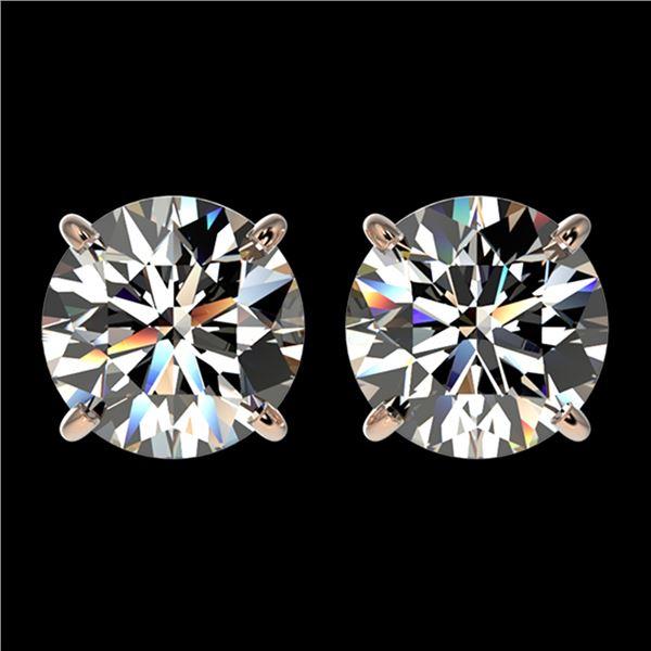 2.57 ctw Certified Quality Diamond Stud Earrings 10k Rose Gold - REF-303W2H