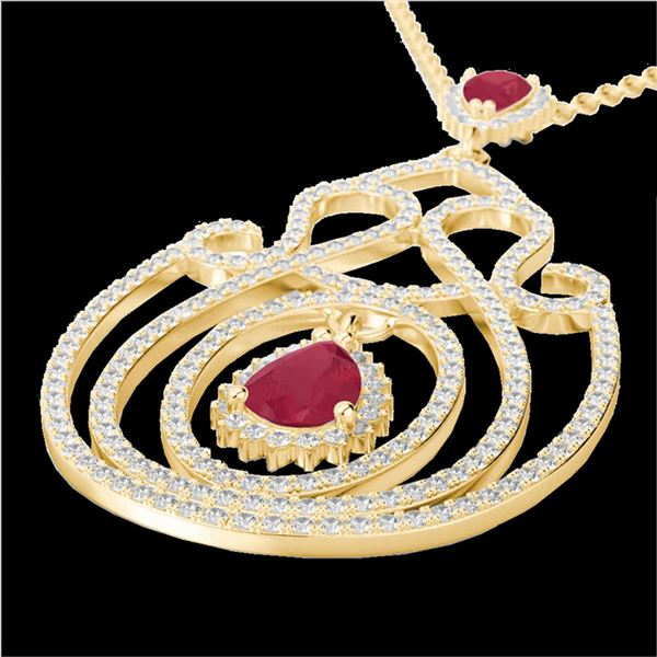 3.20 ctw Ruby & Micro Pave Diamond Heart Necklace 14k Yellow Gold - REF-212F8M