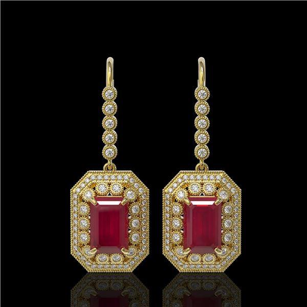 14.16 ctw Certified Ruby & Diamond Victorian Earrings 14K Yellow Gold - REF-318Y2X